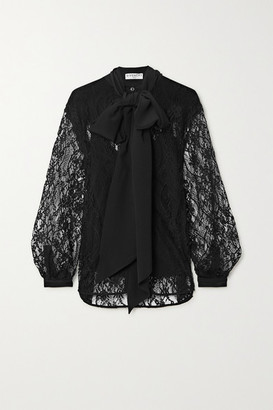 Givenchy Pussy-bow Cotton-blend Lace And Silk Crepe De Chine Blouse - Black