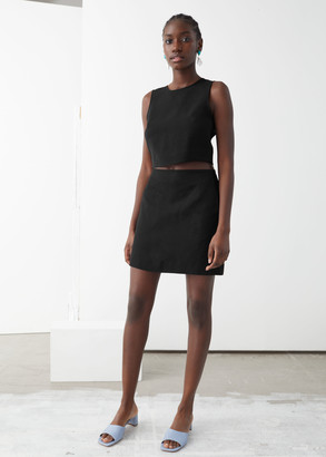 And other stories Linen Blend A-Line Mini Skirt