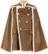 Pierre Balmain Faux shearling-lined cotton-blend corduroy cape