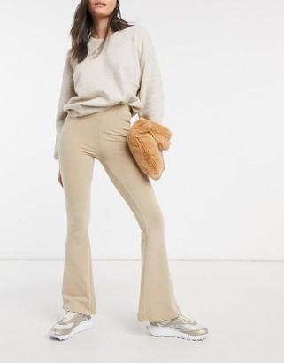 ASOS DESIGN flare legging in oatmeal marl