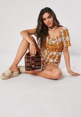 Missguided Mustard Bardot Embroidered Romper