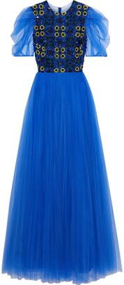 Carolina Herrera Embellished Pleated Tulle Gown