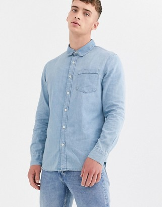 Weekday classic denim shirt in light blue