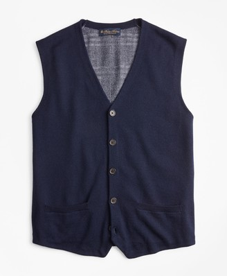 Brooks Brothers Washable Merino Wool Plaid Back Waistcoat