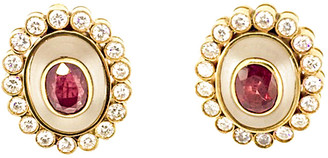 Arthur Marder Fine Jewelry 18K 4.00 Ct. Tw. Diamond, Ruby, & Crystal Earrings