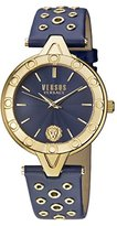 Versus By Versace Women's 'V Eyelet' Quartz Gold and Leather Casual Watch, Color:Blue (Model: SCM110016)