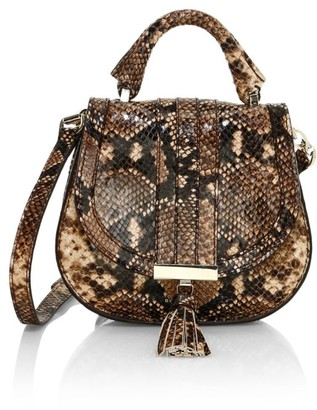 DeMellier Nano Venice Snakeskin-Embossed Leather Saddle Bag