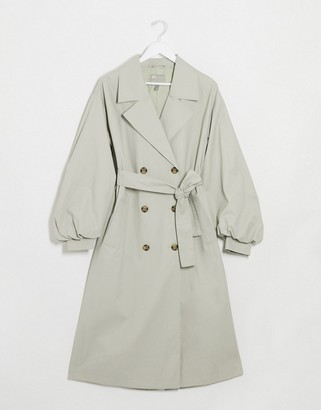 Asos DESIGN extreme balloon sleeve trench coat in sage