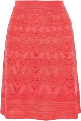 M Missoni Fluted Crochet-knit Wool-blend Skirt