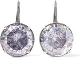 Bottega Veneta Oxidized Silver Cubic Zirconia Earrings - one size