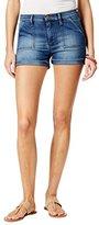 Buffalo David Bitton Women's Faith Mid Rise Roll Cuff Blue Jean Shorts