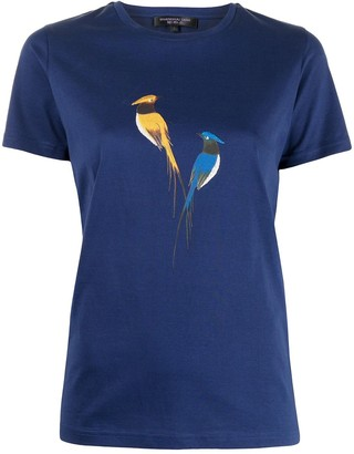 Shanghai Tang embroidered bird print cotton T-shirt