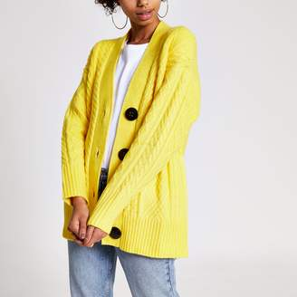 River Island Womens Yellow cable knitted oversized cardigan