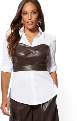 New York & Co. Petite Poplin/Faux Leather Top