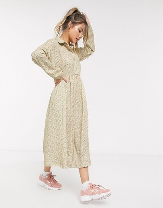 Asos DESIGN Long sleeve smock shirt dress in ditsy print
