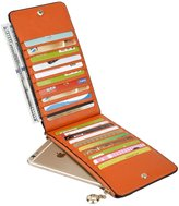 Yaluxe Women's Genuine Leather Multi Card Organizer Wallet with Zipper Pocket RFID Blocking Dark Pink