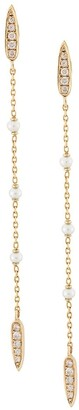 Anissa Kermiche 14kt yellow gold Perle Rare pearl and diamond long chain earrings