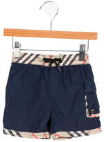Burberry Boys' Nova Check-Trimmed Swim Trunks