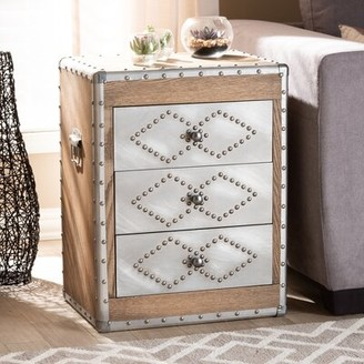 Williston Forge Rawlins Wood and Metal 3 Drawer Nightstand Williston Forge
