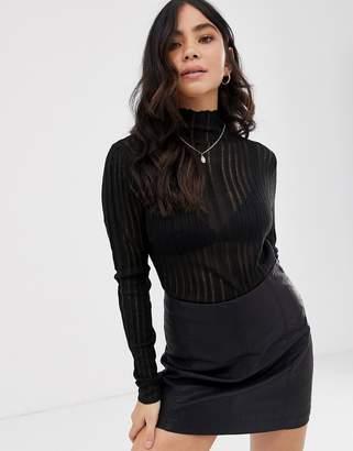Raga Quin high neck sheer long sleeved top-Black