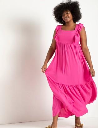 ELOQUII Ruffle Detail Maxi Dress