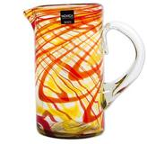 Artisan Blown Recycled Glass Pitcher in Orange from Mexico, 'Fantastic Swirls in Orange'