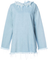 Marques Almeida Marques'almeida - frayed edge denim sweater - women - Cotton - XS