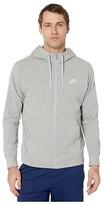 Nike NSW Club Hoodie Full Zip Jersey (Black/White) Men's Clothing