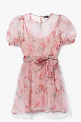 Nasty Gal Womens It's Disco Flower Organza Belted Mini Dress - Pink - S