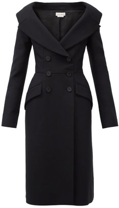 Alexander McQueen Off-the-shoulder Double-breasted Wool-blend Dress - Black