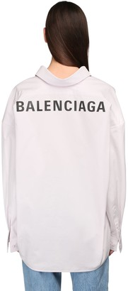 Balenciaga Cotton Poplin Shirt W/ Back Logo