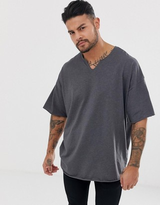 Asos Design DESIGN oversized t-shirt with raw notch neck in charcoal marl
