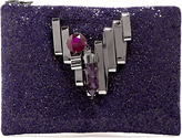 Mawi Amethyst And Crystal Glitter Clutch Bag
