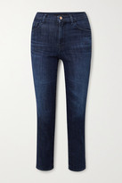 Thumbnail for your product : J Brand Alma Cropped High-rise Straight-leg Jeans - Dark denim
