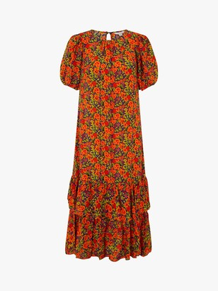 Monsoon Romana Floral Print Ruffle Hem Maxi Dress, Orange/Multi