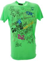 DSQUARED2 Printed Neon Green Cotton T-shirt