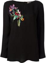 Etro bird embroidered blouse