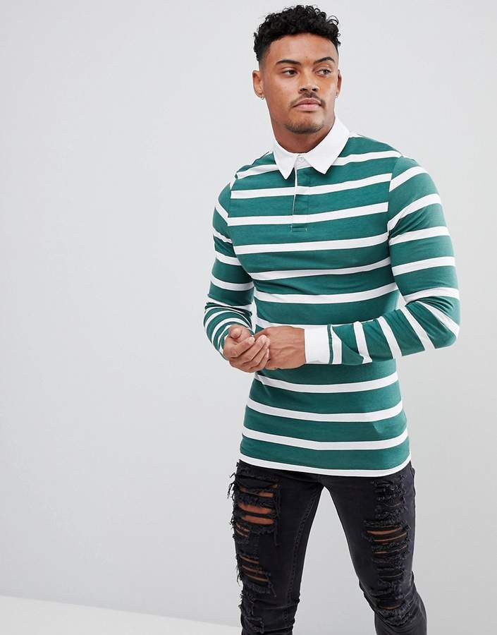 Asos Muscle Long Sleeve Stripe Rugby Polo