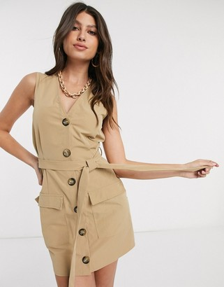 Parisian tie front utility dress in stone