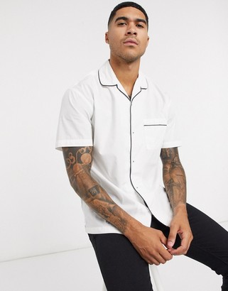 Jack and Jones short sleeve revere collar shirt with piping in white