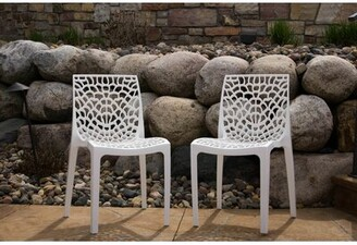 Rockwell Wrought Studio Karissa Patio Chair (Set of 2) Wrought Studio Color: White
