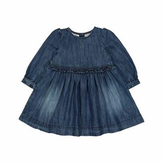 Mothercare Baby Girls' MG PB Navy Denim Frill Waist Dress