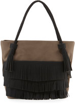 Danielle Nicole Ryver Faux-Leather Fringe Tote Bag, Dark Gray/Black