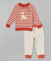 Wendy Bellissimo Red & White Giraffe Sweater & Pants - Infant