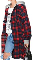 YesFashion Women's Vintage Plus Size Plaid Hooded New Look Loose Coat XL