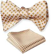 Amedeo Exclusive Men's Italian Silk Self Bow Tie Matching Pocket Square Hanky's