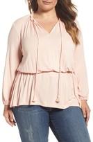 Melissa McCarthy Plus Size Women's Knit Blouson Peasant Top