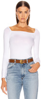 Enza Costa Italian Viscose Long Sleeve Square Neck Top in White | FWRD