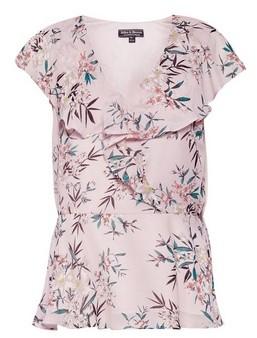 Dorothy Perkins Womens **Billie & Blossom Blush Floral Print Ruffle Shell Top