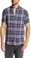 Report Collection Short Sleeve Plaid Linen Regular Fit Shirt